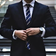 man walking wearing business suit